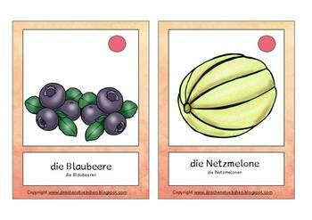 Bildkarten Früchte - flash cards fruit in German
