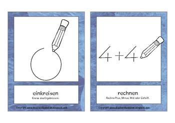 Bildkarten Mathematik Klasse 1 - Flash Cards math instructions german
