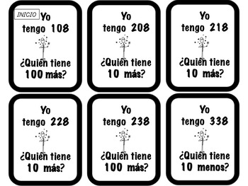 Bilingual:2nd Grade Mental Math-I have Who has..?(+/-10/100)Math Centers(Bundle)