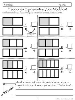 Bilingual: MInilessons (4th) Equivalent Fractions with Fraction Models(BUNDLE)
