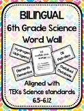Bilingual 6th Grade Science Word Wall - TEKs Aligned - Bla