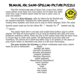 Bilingual ABC Sound-Spelling-Picture Puzzle
