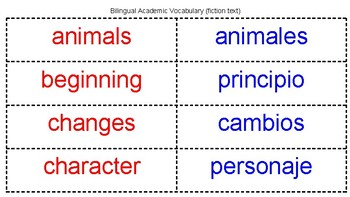 Bilingual Academic Vocabulary (fiction text)