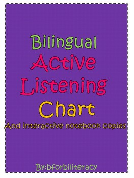Bilingual Active Listening Chart w/ Interactive student copy