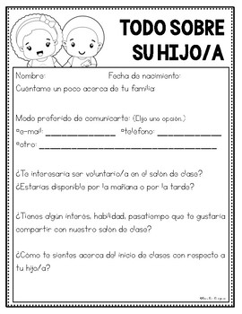 Bilingual All About Your Child Form - Back to School