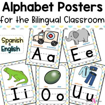 Alphabet Posters (Bilingual) with Cognates | Shabby Chic