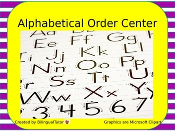 Digital Alphabetical Order Center/Centro del alfabeto-- PowerPoint