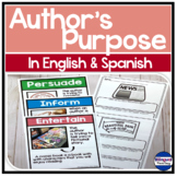 Author's Purpose Worksheets in English Spanish DIGITAL LEARNING
