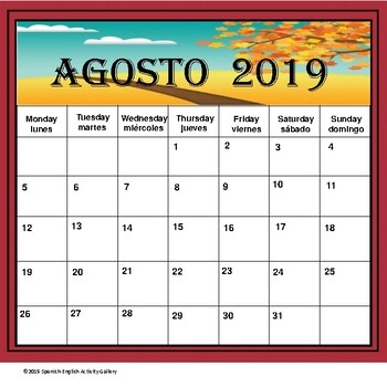 Bilingual School Calendar 2015 - 2016 (English/Spanish)