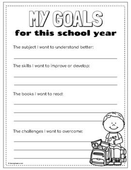 Bilingual, Back-to-School Goal Worksheets