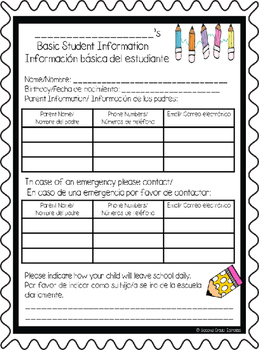 Bilingual Back to School Information Student Folders EDITABLE