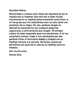 Bilingual Back to School Welcome Letter and Get to Know you Take Home Form