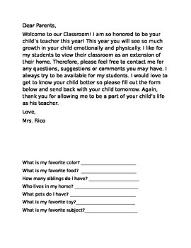 Bilingual Back to School Welcome Letter and Get to Know yo