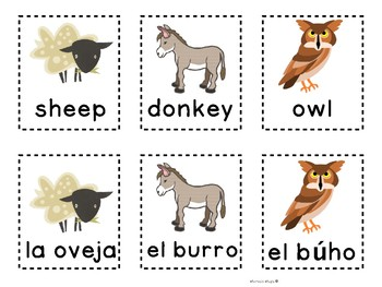 Bilingual Barnyard Matching Game