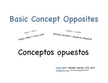 Bilingual (Spanish/English) Basic Concept Opposites Mini Book