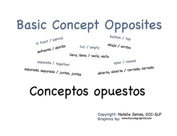 Bilingual (Spanish/English) Basic Concept Opposites Book