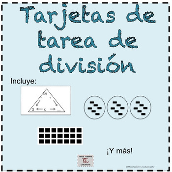 Bilingual:Basic Division Concepts Task Cards 3rd grade (Bundle) Math Centers