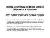 Bilingual Basic Needs of Animals and Plants (Spanish- Necesidades Basicos)