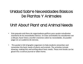 Bilingual Basic Needs of Animals and Plants (Spanish- Nece