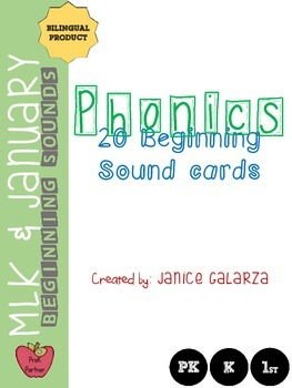 Bilingual: Beginning sound cards for January and MLK themes