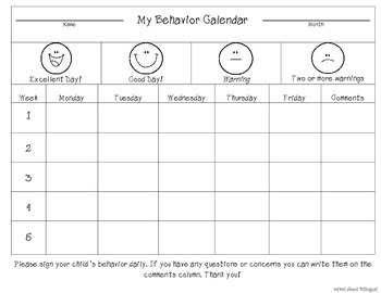 Bilingual Behavior Calendar