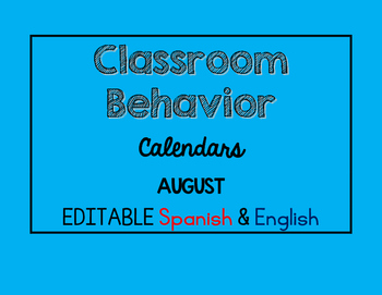 EDITABLE Bilingual Behavior Calendar {August 2016}
