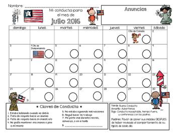 Bilingual Behavior Calendar {July 2016}