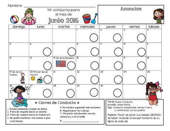 Bilingual Behavior Calendar {June 2016}