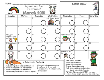 Bilingual Behavior Calendar {March 2016}