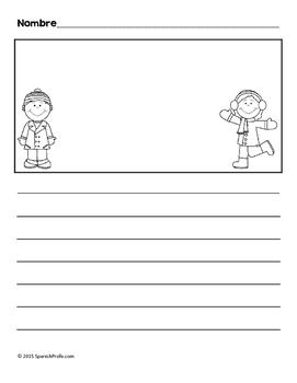 Bilingual Blank Writing Templates (Winter / Invierno) (Spanish/ English)  Blank Writing Sheet