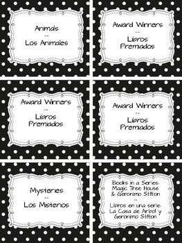 Bilingual Book Basket Labels