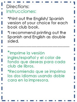 Bilingual-Book Club Activity Board-Two Color Fonts