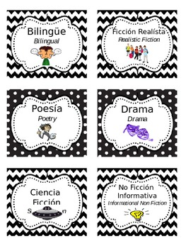 Bilingual Book Genre Labels (Chevron & Polka Dots, Editable)