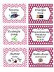 Bilingual Book Genre Labels (Chevron & Polka Dots, PINK, Editable)