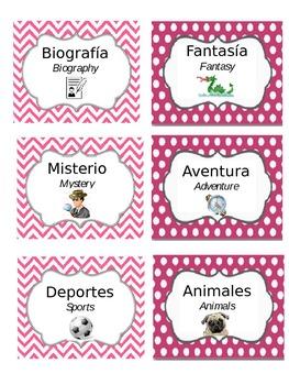 Bilingual Book Genre Labels (Chevron & Polka Dots, PINK, E