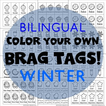 416 Brag Tags for Winter & Christmas in English & Spanish BUNDLE