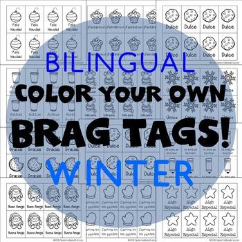 416 Brag Tags for Winter & Christmas in English & Spanish BUNDLE