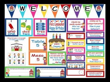 Bilingual Bright Chevron Calendar Set and Classroom Decorations