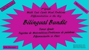 Bilingual Bundle/3rd Grade Math Task Cards/Word Problems