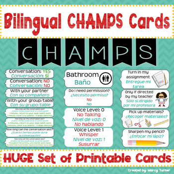 Bilingual CHAMPS Card/Posters for Classroom (Spanish/English)