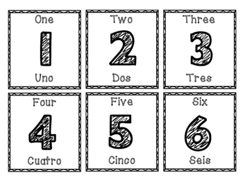 Bilingual Calendar Number Cards 0-31