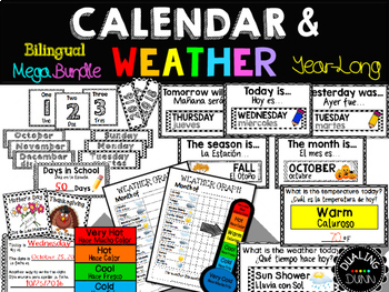 Bilingual Calendar and Weather Set Year-Long Mega Bundle
