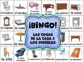 Taburete In English.Bilingual Category Bingo Household Items Flashcards Games English Spanish