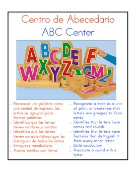 Bilingual Center Signs, Dual Language
