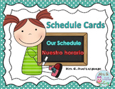 Bilingual  Schedule Cards: English and Spanish Turquoise Border