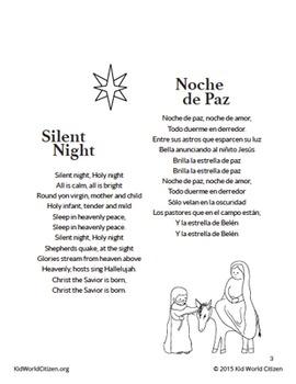 photo about Christmas Carol Songbook Printable identified as Bilingual Xmas Carols / Villancicos Navideños ~ Spanish-English Songbook