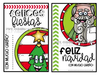 Bilingual Christmas Gift Tags Editable