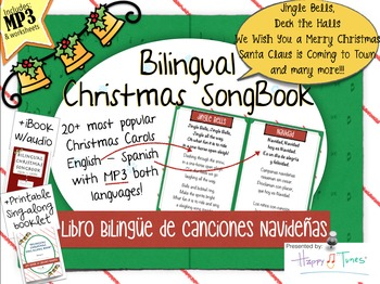 picture about Christmas Caroling Songbook Printable named Bilingual Xmas Songbook MP3 Canciones Navidad Vocabulary Spanish Enjoyment Music