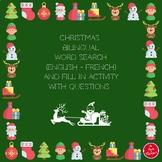 Bilingual Christmas Word Search and Fill in Activity with questions.