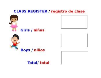 Bilingual Class Register
